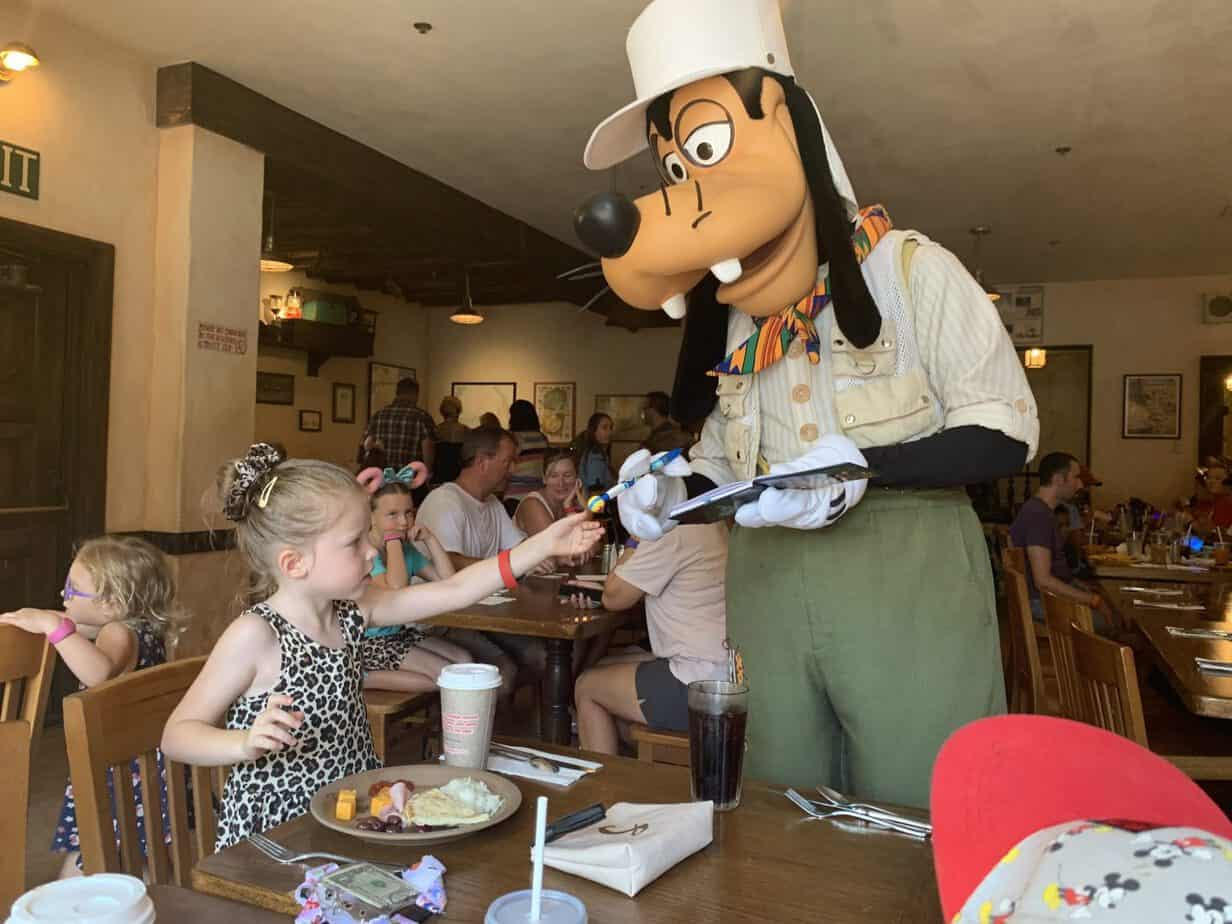 Meeting Goofy at Tusker House Animal Kingdom