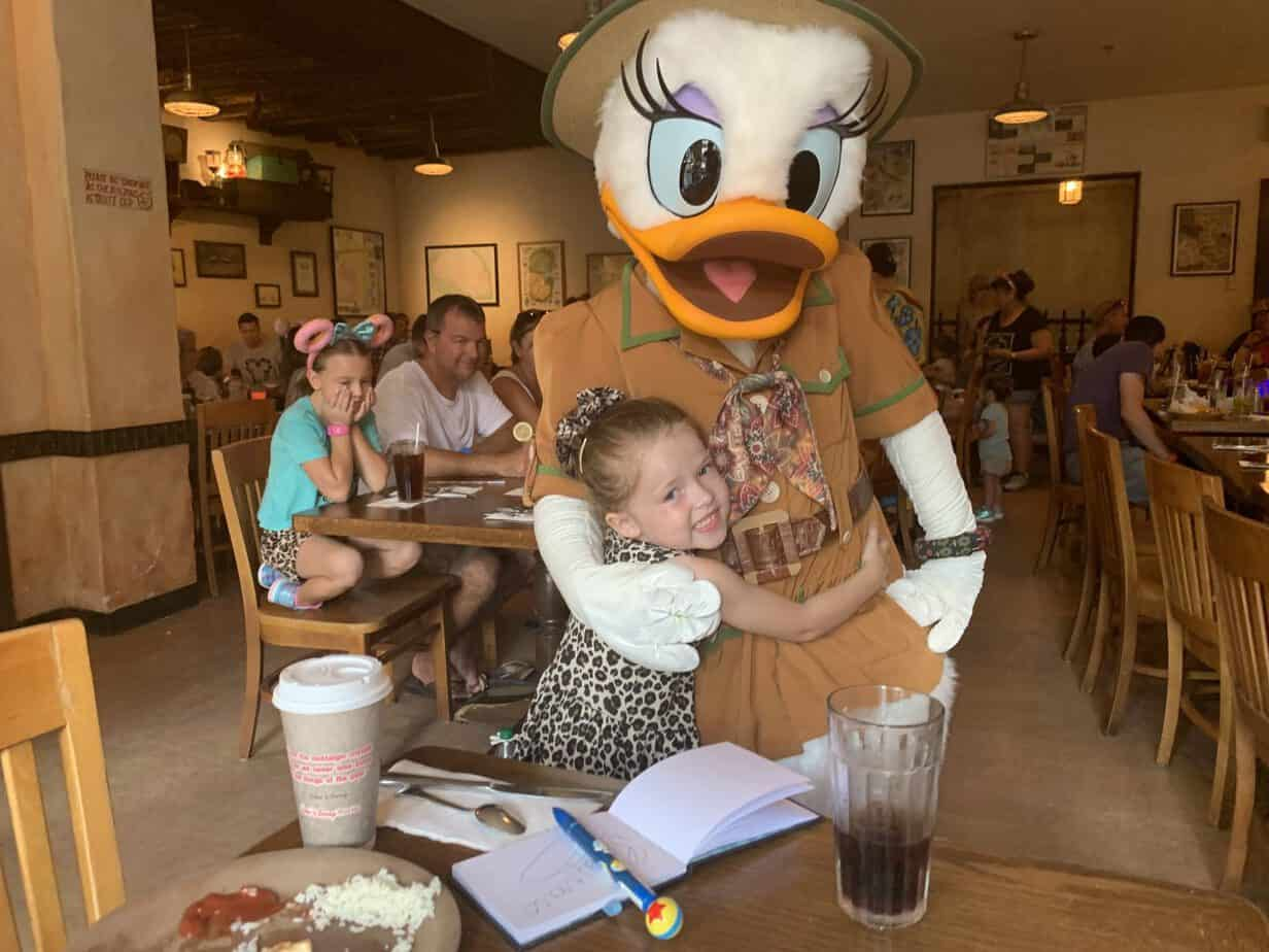 Cuddles with Daisy Duck at Tusker House in Animal Kingdom
