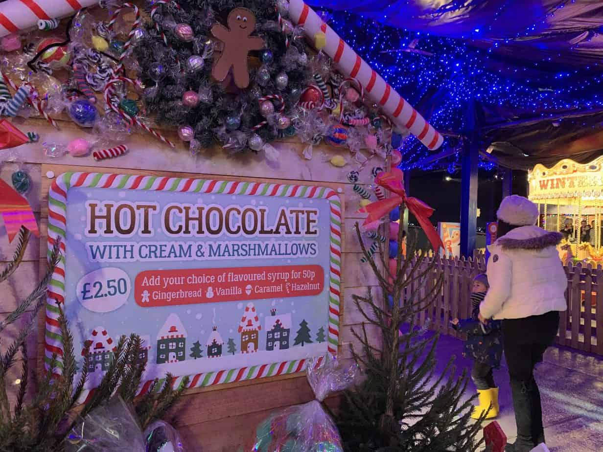 Hot Choclate Sand at the Christmas Village Santas Winter Wonderland SnowDome