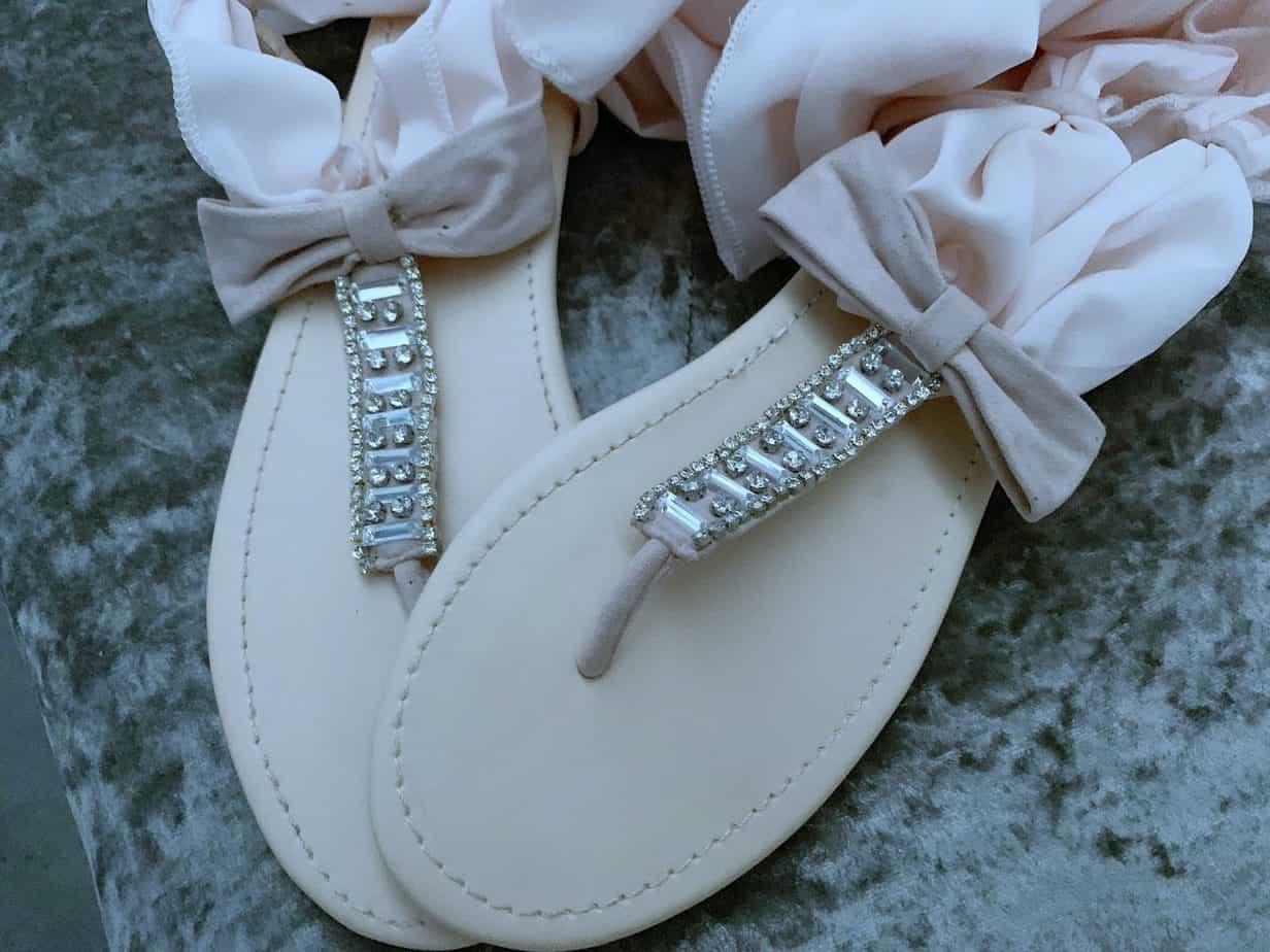 FSJ Rhinestone sandals pink