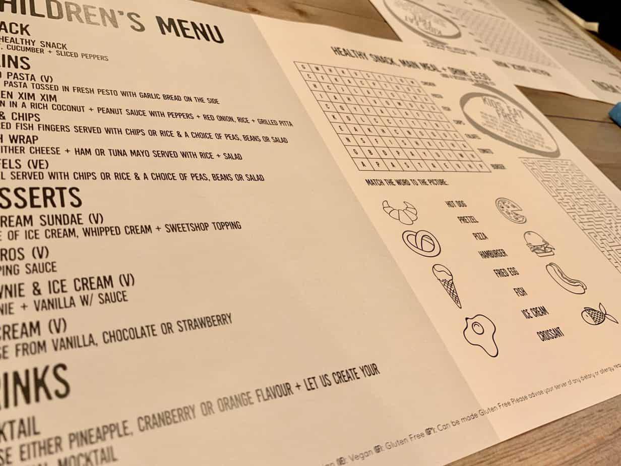 Kids menu at The Village Moseley Birmingham