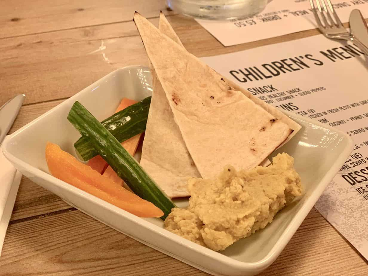 Children starter of veggie sticks and hummus The Village Moseley Birmingham