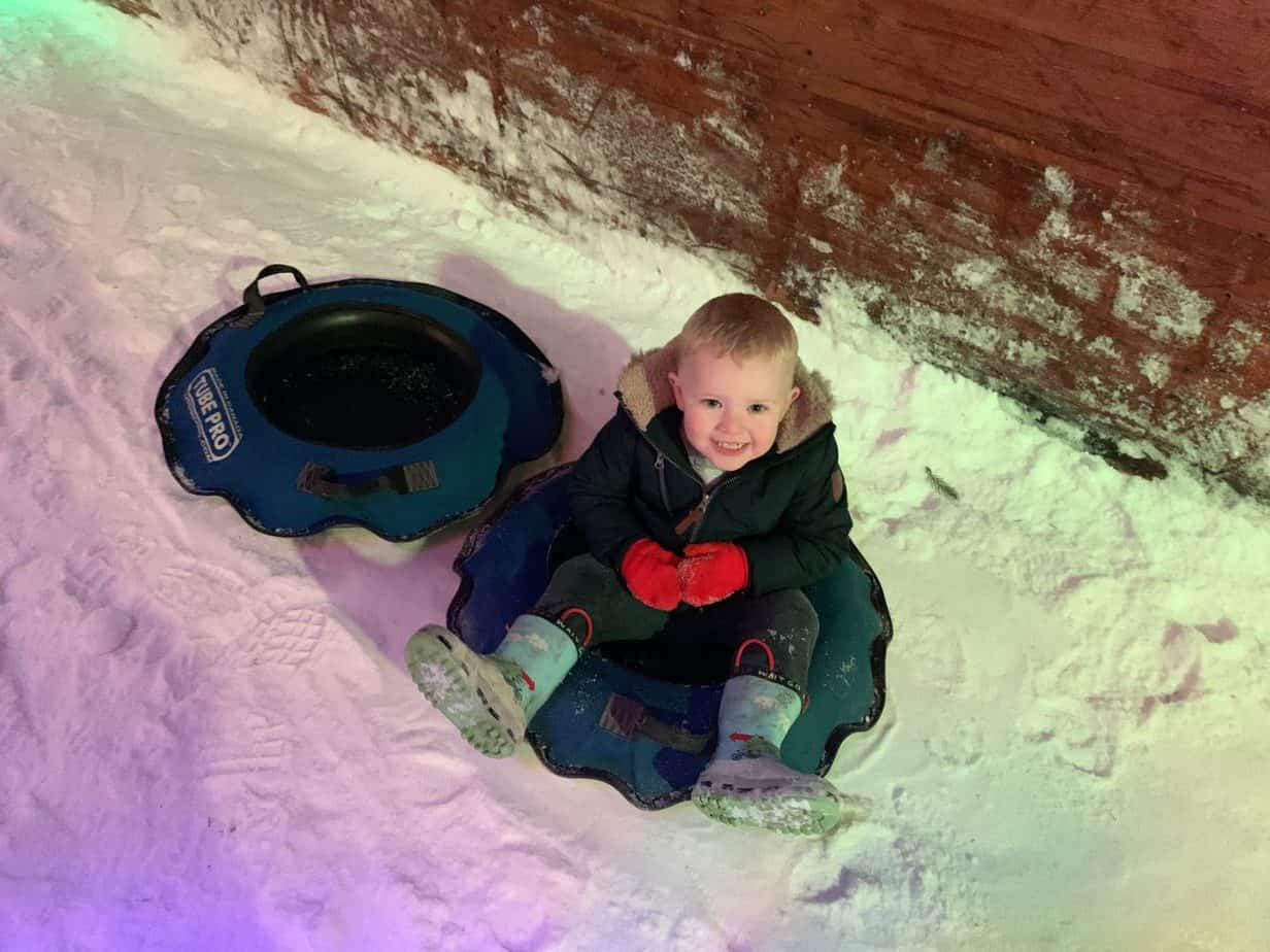 Baby K snow tubing at Santas Winter Wonderland SnowDome