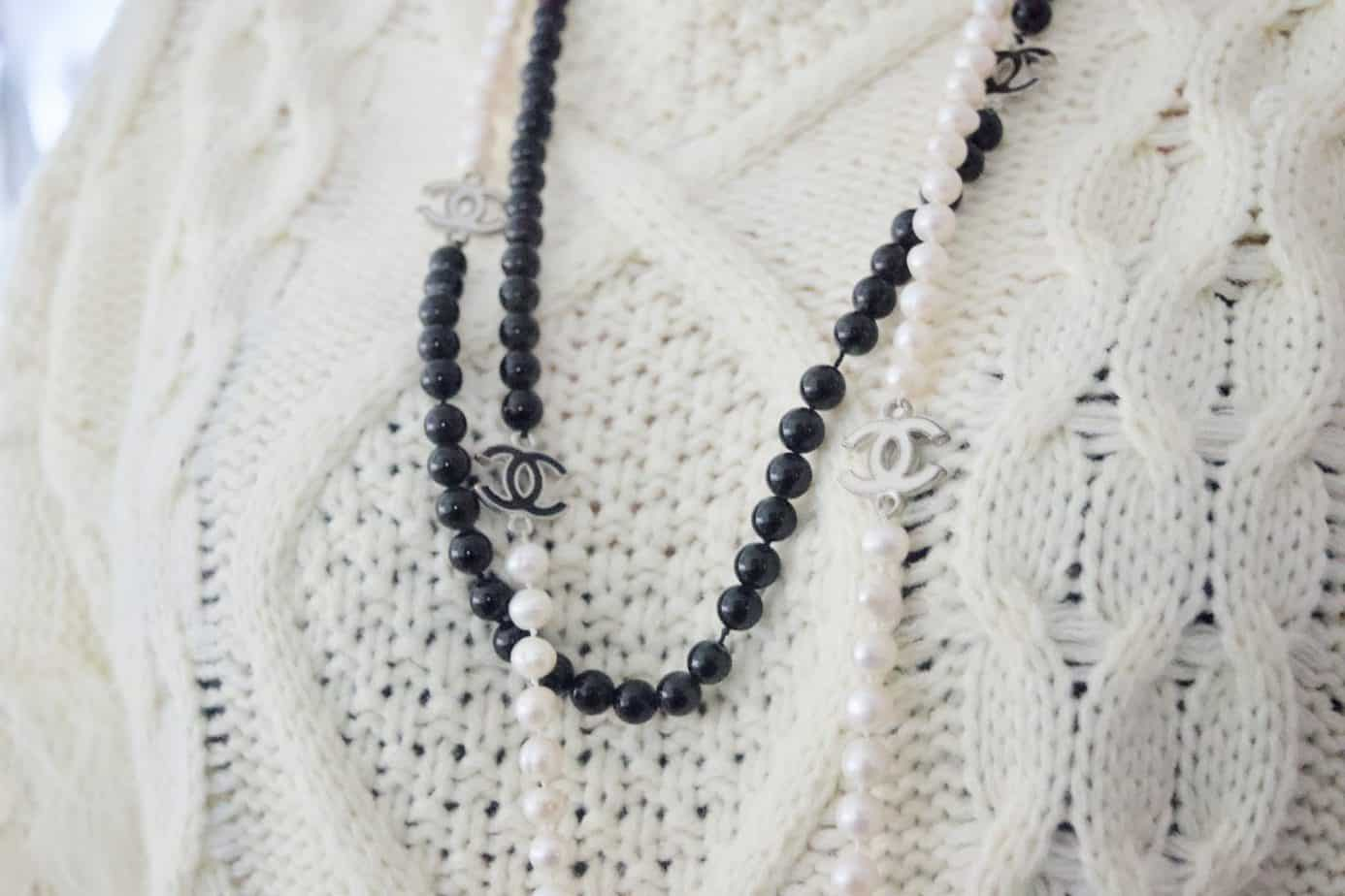 Chanel beaded pearl statement necklace