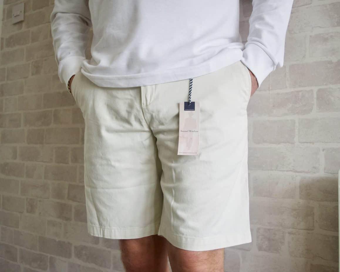 Stone chino summer shorts menswear samuel windsor
