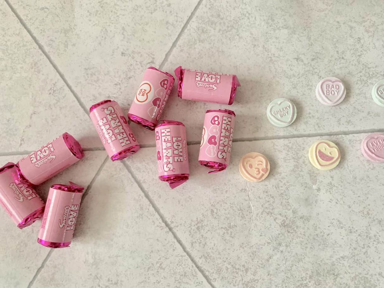 Limited edition Love hearts pink wrapping swizzel sweets