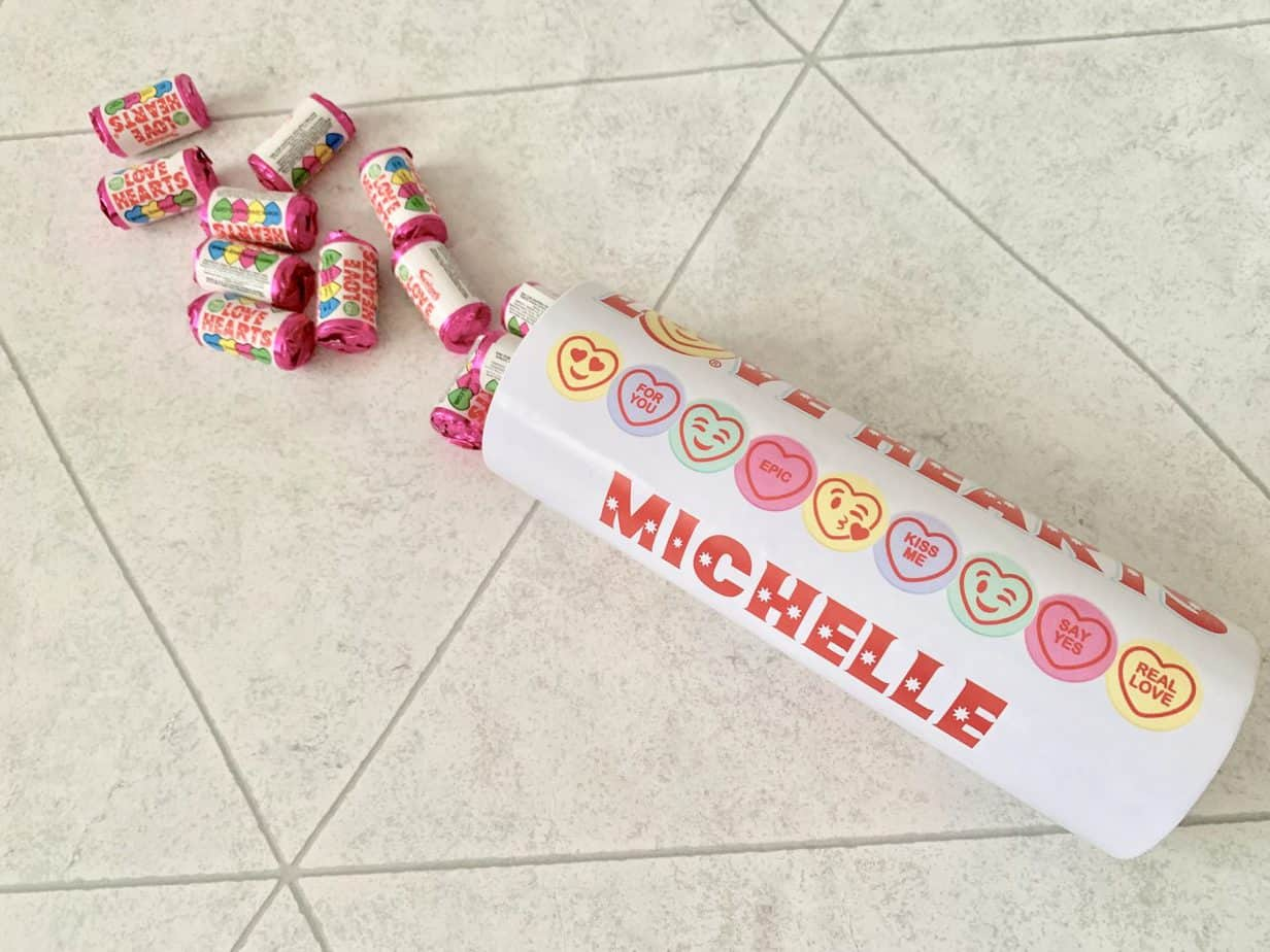 Personalised love hearts tube for valentines day