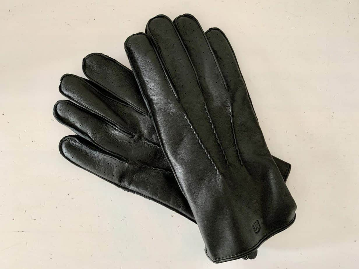 trendhim black mens leather gloves