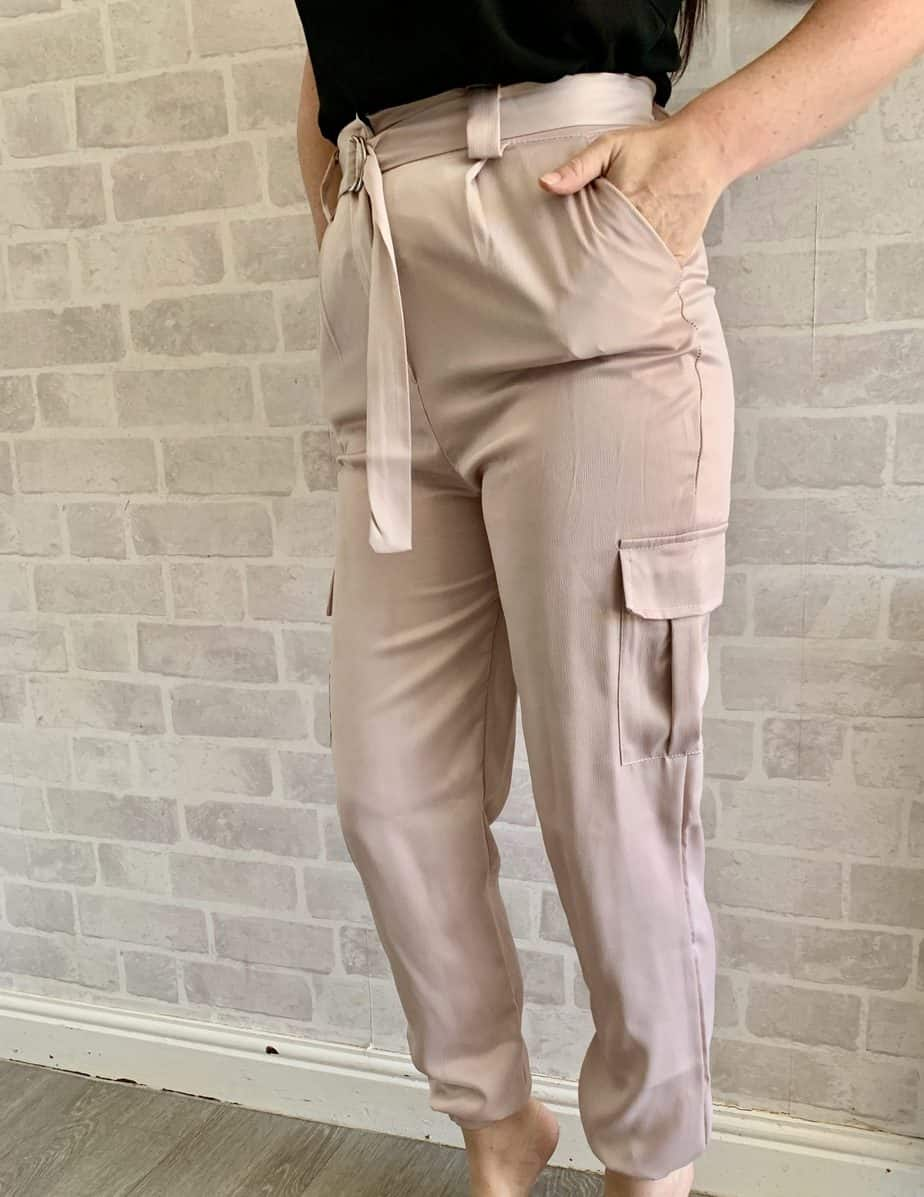 rose pink cargo cigarette trousers