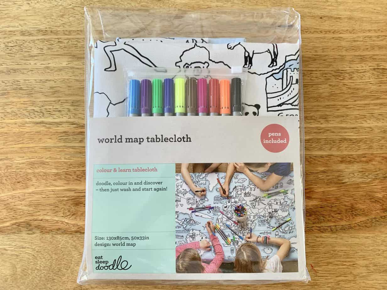 EatsleepDoodle World map tablecloth pack and pens