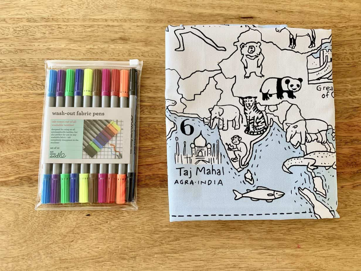 Wash out fabric pens and world map tablecloth