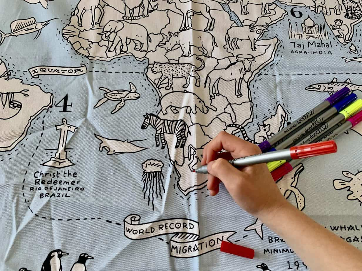 Lots to colour in on world map for kids tablecloth