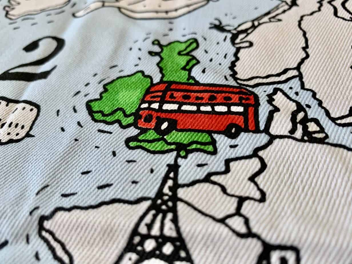 Close up of the UK on tablecloth map to colour in