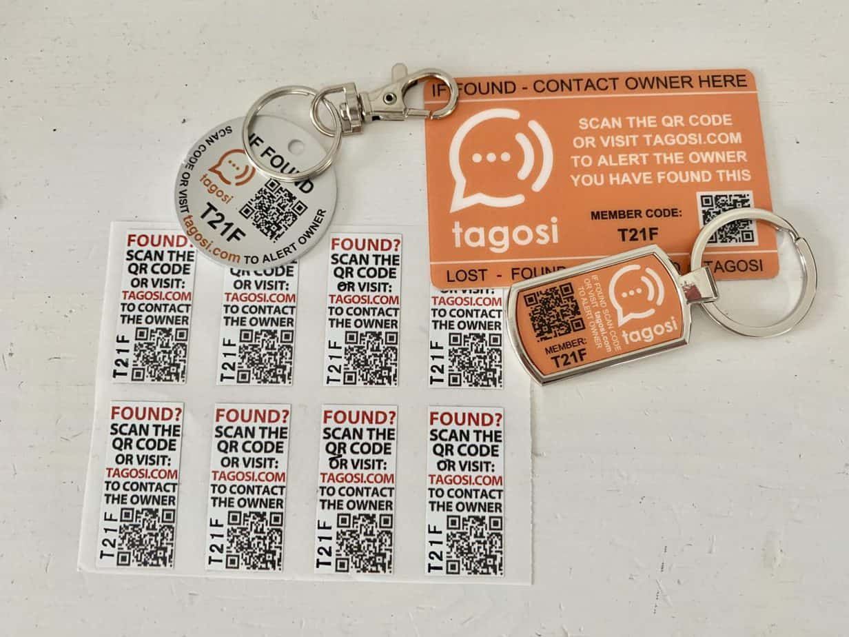 Tagosi items delivered in your membership pack including stickers, keyring and wallet cards