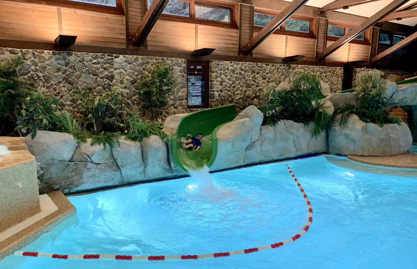 Inside pool and slide at Sequoia Lodge Disneyland Paris Review