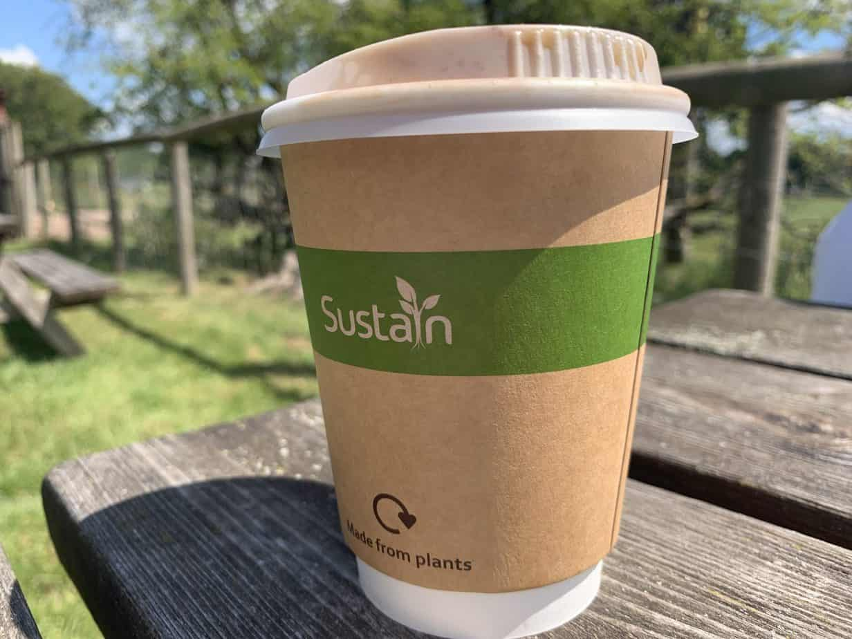 Takeaway coffee at Espresso Cafe at Umberslade Farm Park Warwick