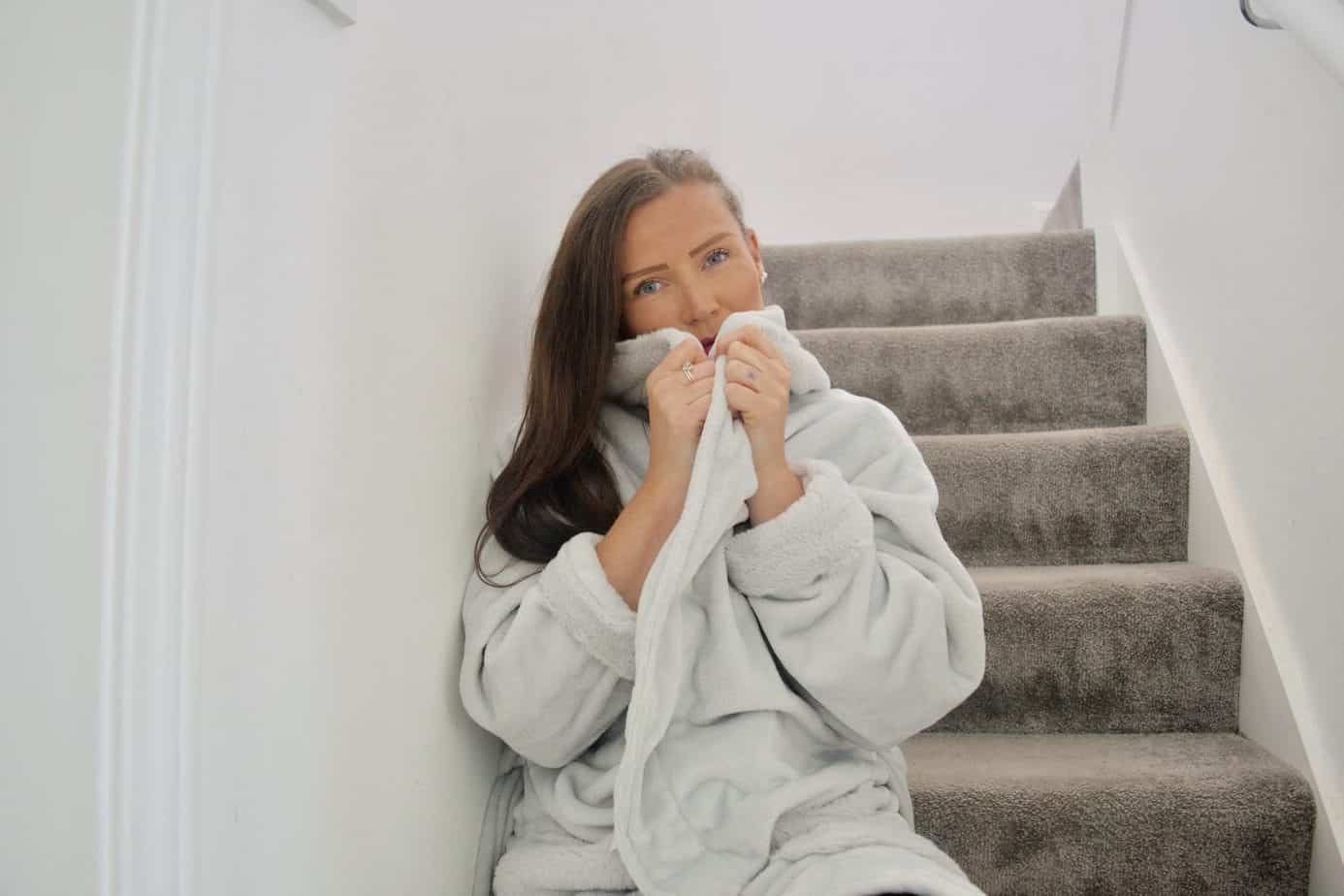 Grey Soft fluffy dressing gown lockdown loungewear