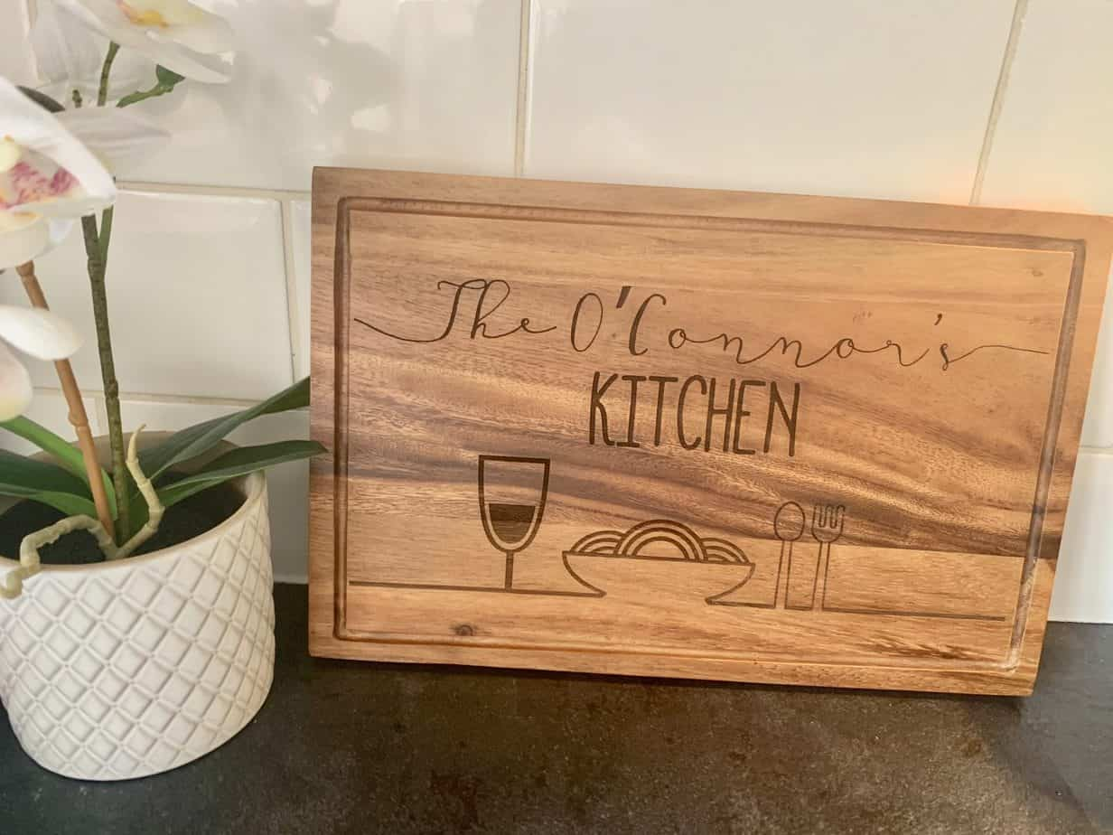 personalised chopping board from personalised gifts market