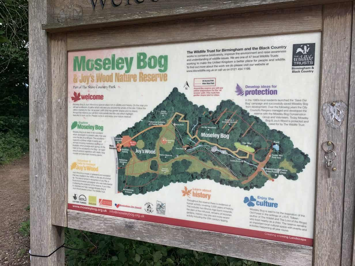 Map of Moseley Bog and Joys Wood Nature reserve