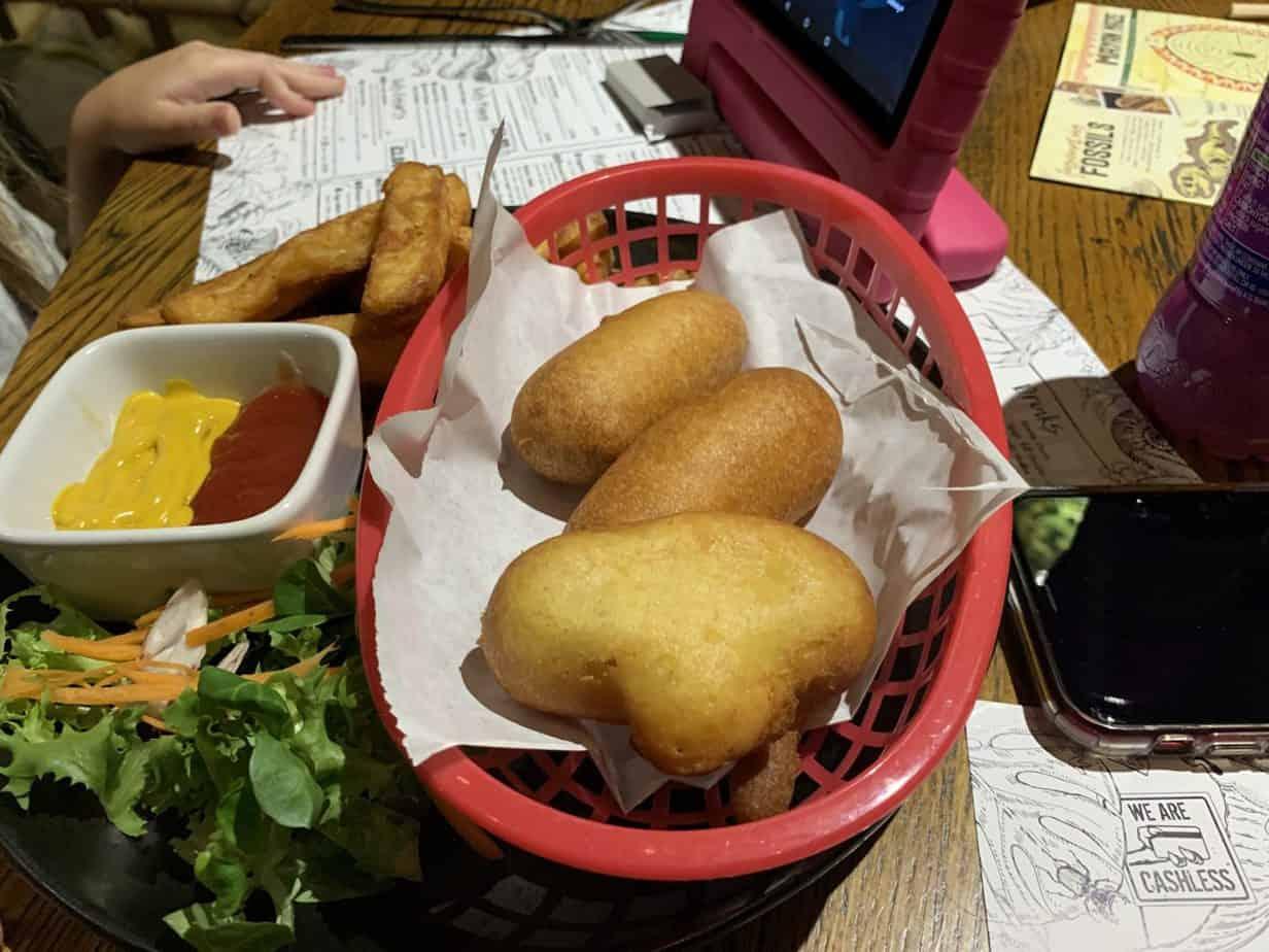 Kids meal corn dogs Jurassic Grill