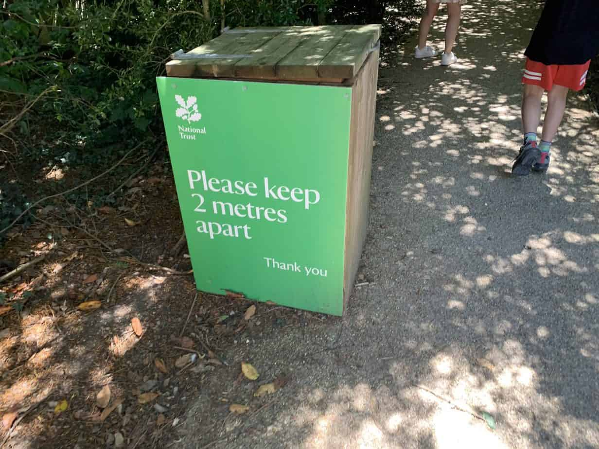 National Trust Covid 19 measures and social distancing sign and why now is the best time to become National Trust Members