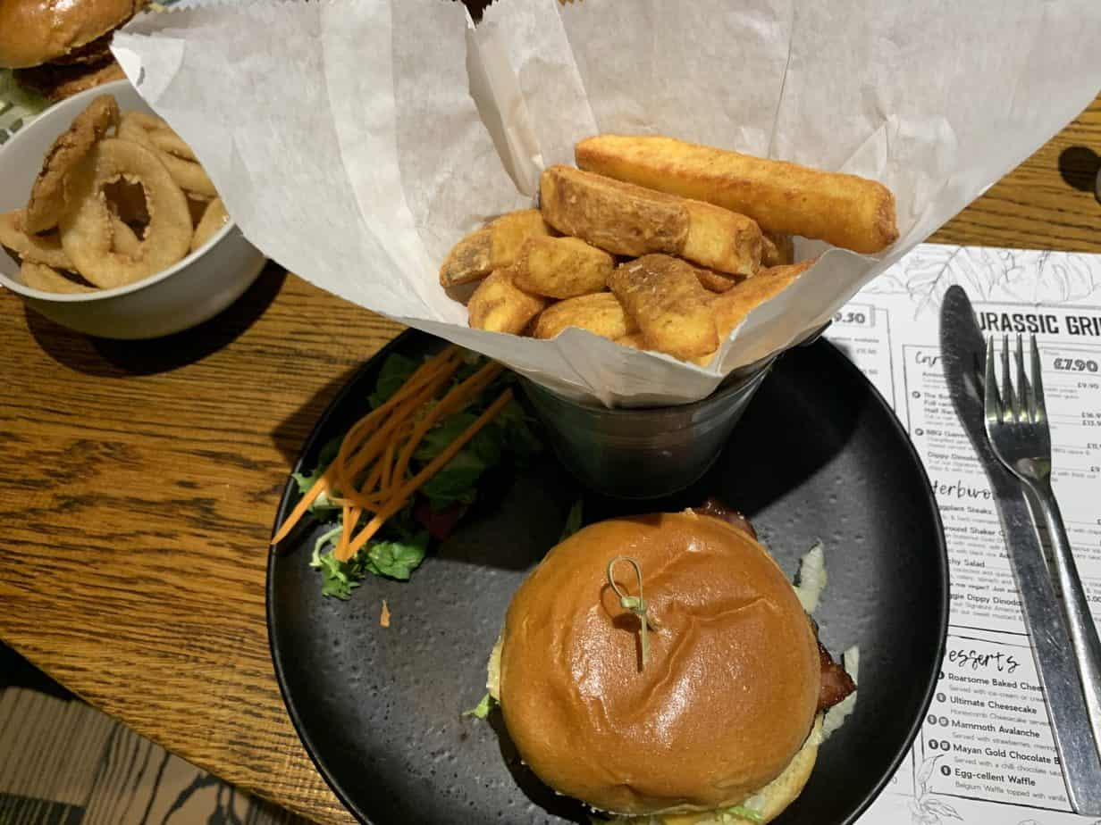 jackosaurus burger at Jurassic Grill