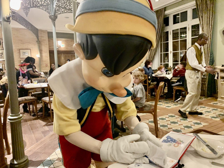 Meeting Pinnochio at Inventions Disneyland Paris