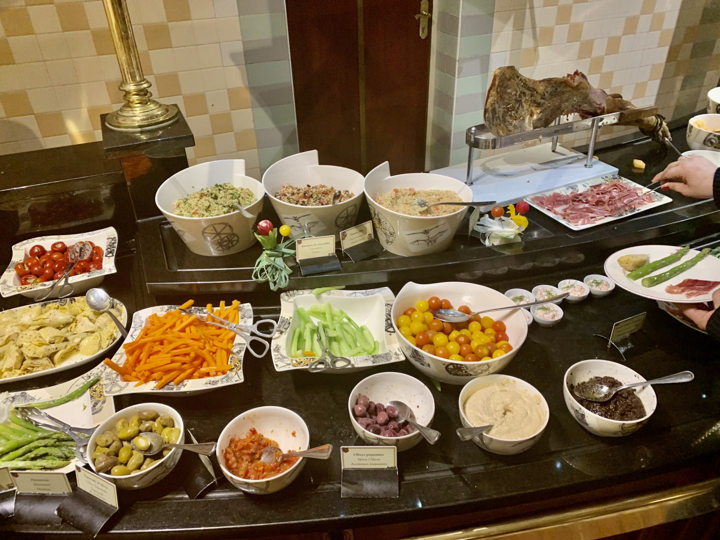 Salad selection in Inventions buffet Disneyland Paris