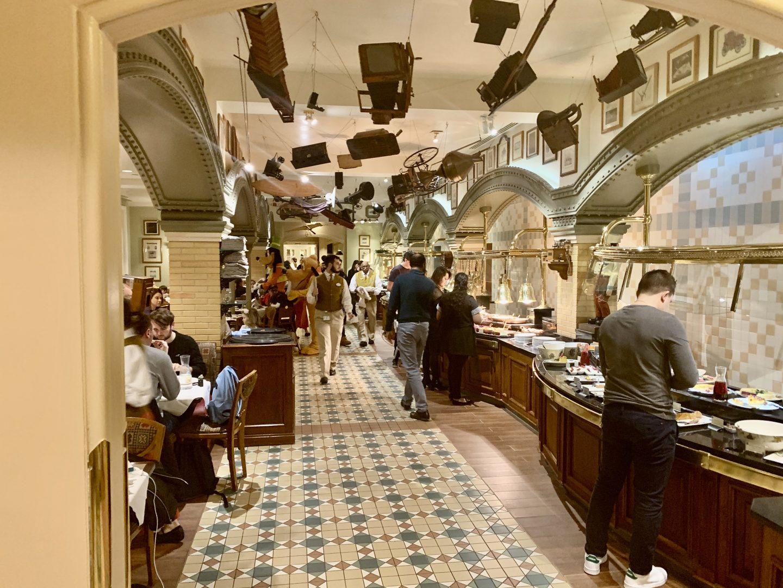 Interior and buffet area at Inventions Disneyland Paris