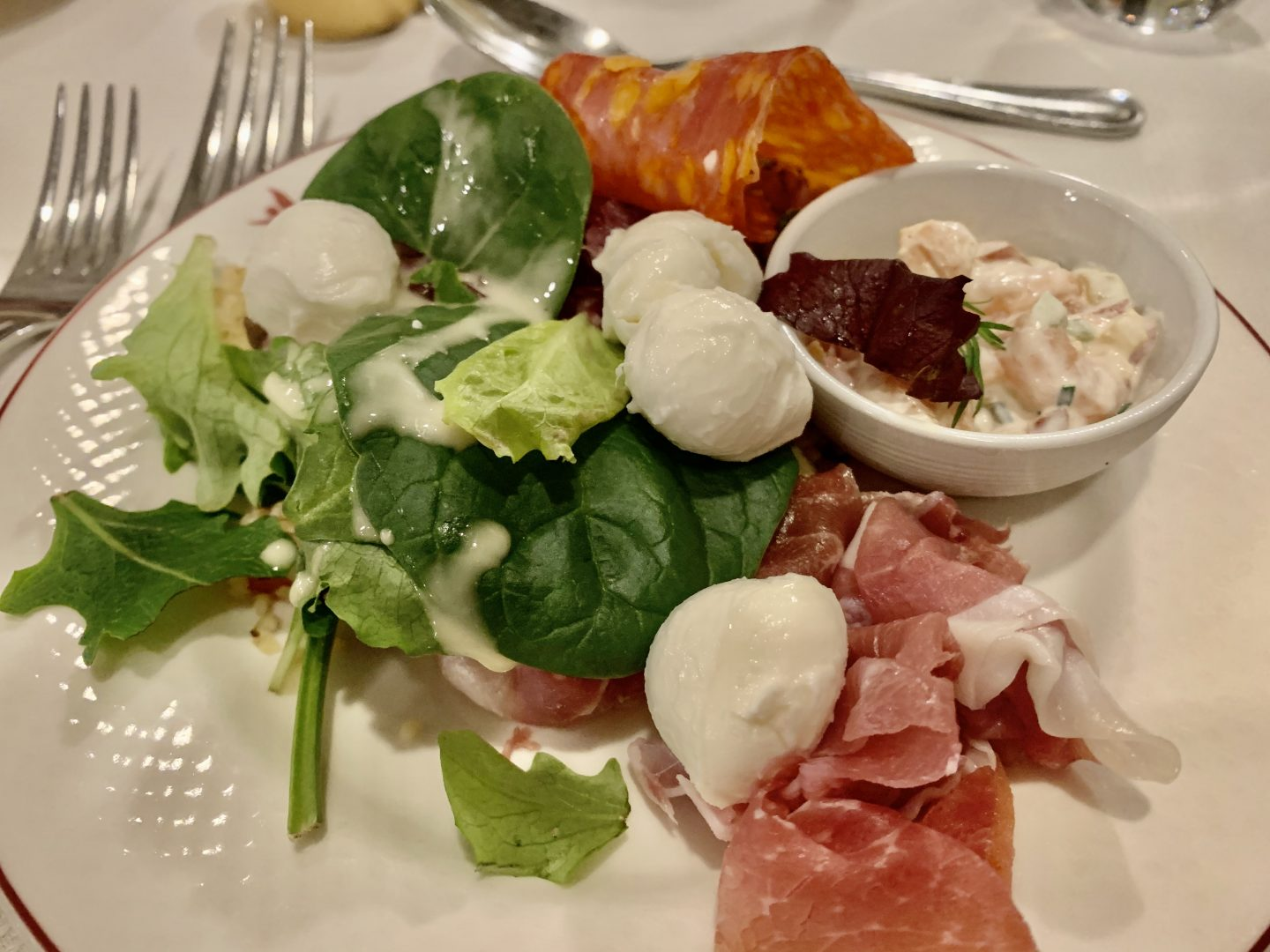 Starter food and salad from Inventions buffet Disneyland Paris