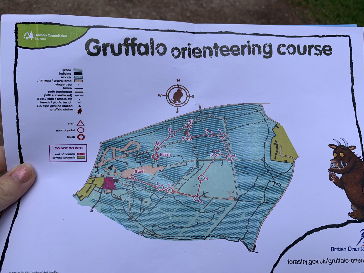 Gruffalo orienteering course at Cannock Chase