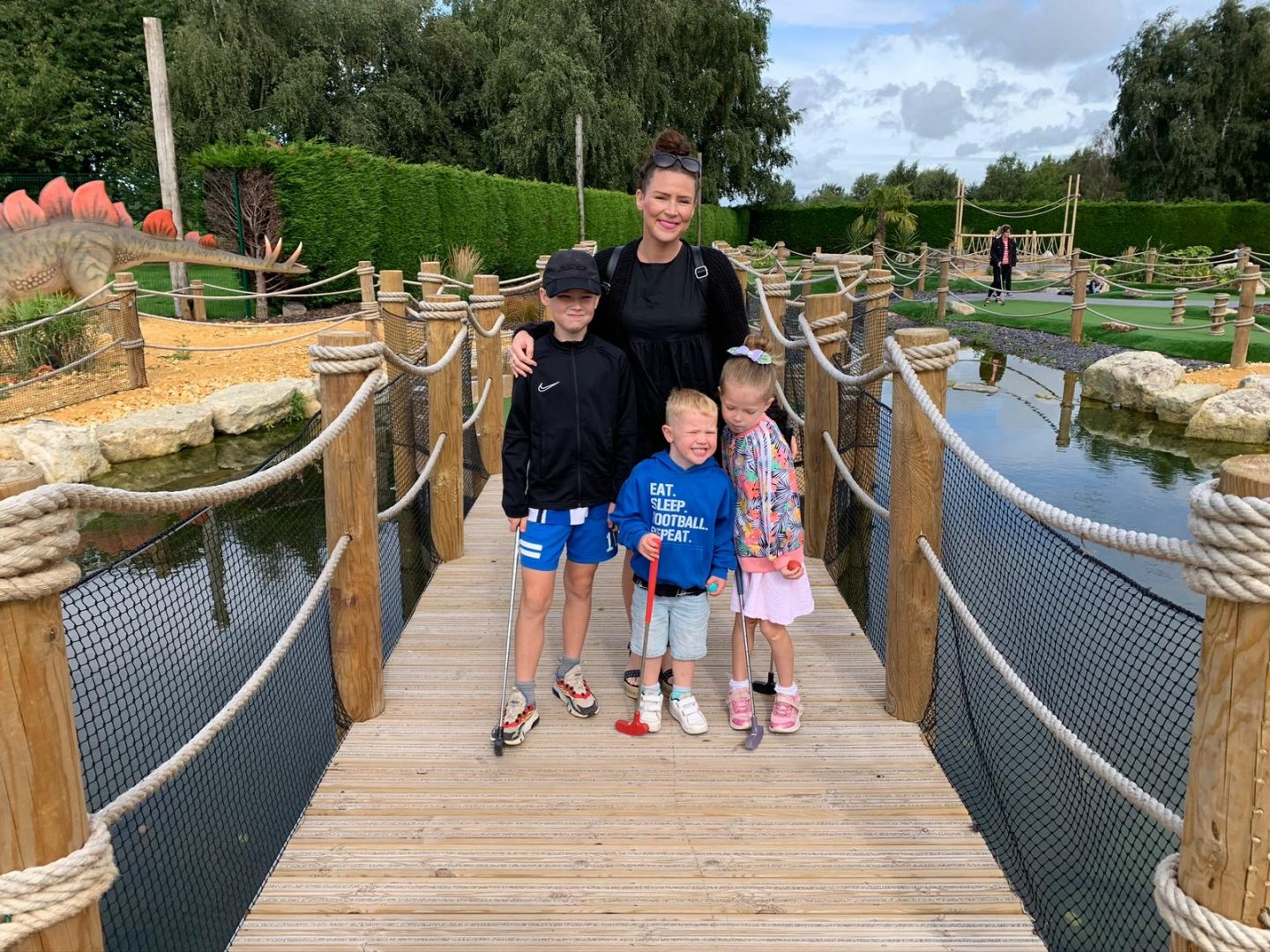 Family day out at Wolverhampton Adventure Golf Dinosaur crazy golf