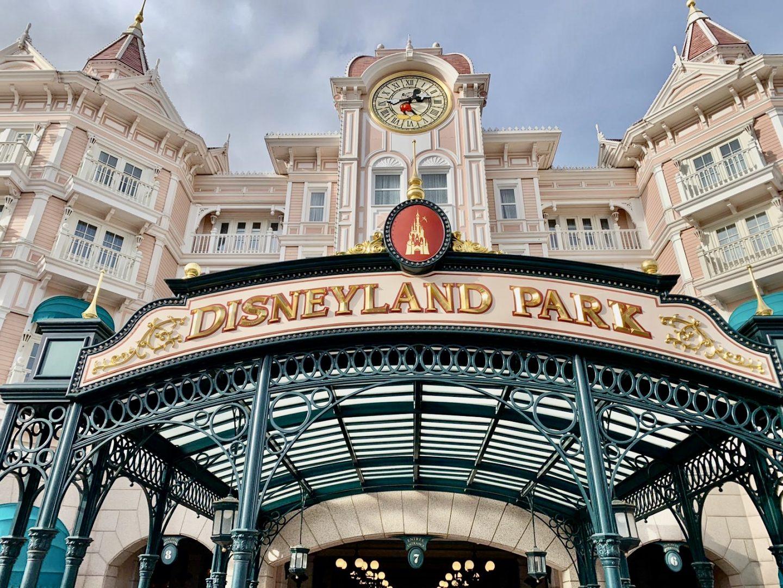 Entrance to Disneyland Park, Disneyland Paris in the winter