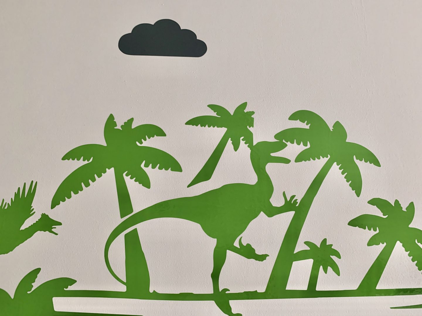 Close up of Jurassic Park personalised dinosaur wall sticker