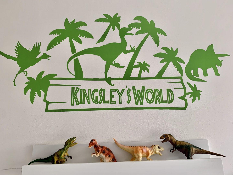 Personalised Jurassic World wall sticker dinosaur themed