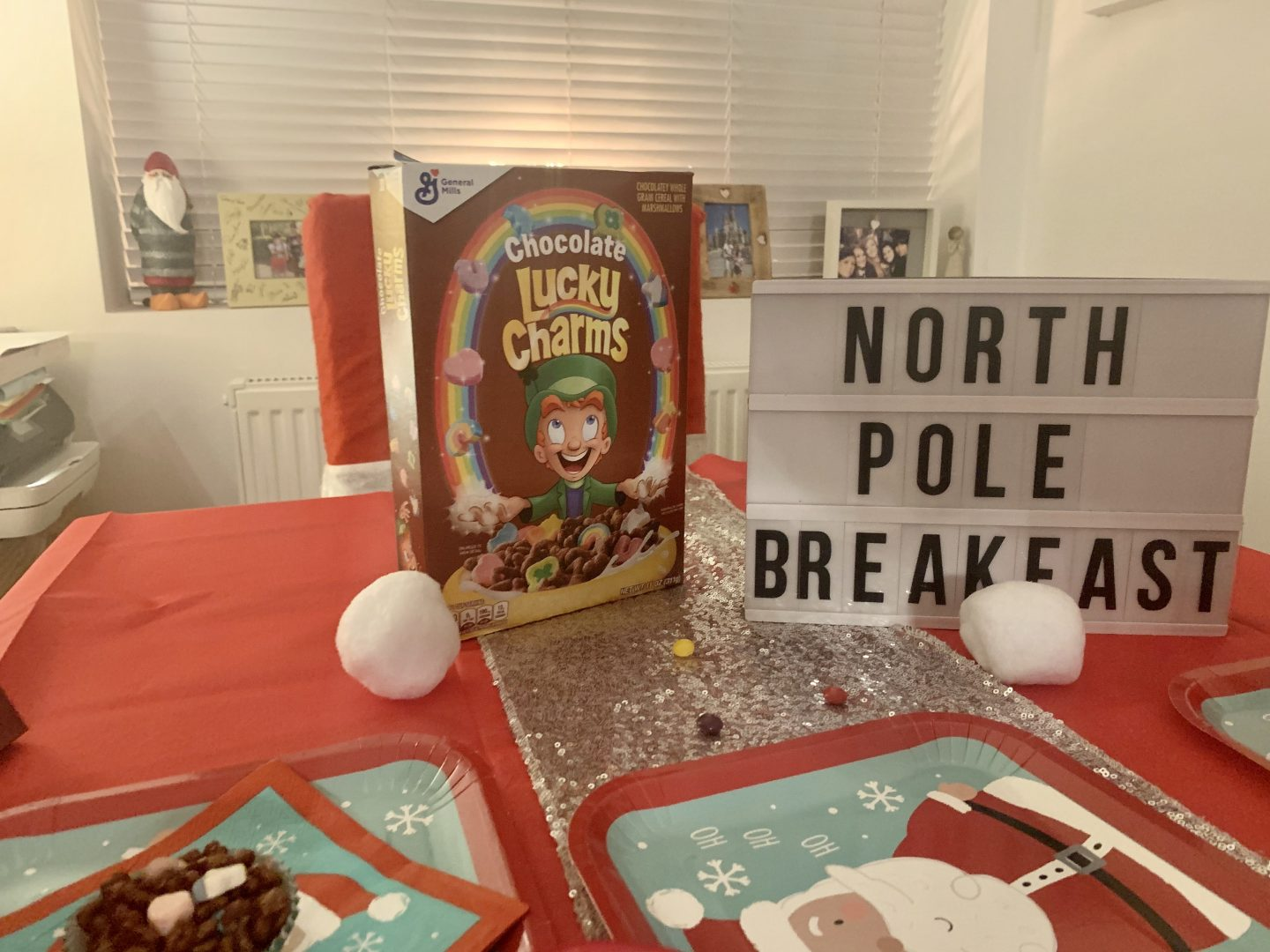 chocolate lucky charms for our north pole breakfast