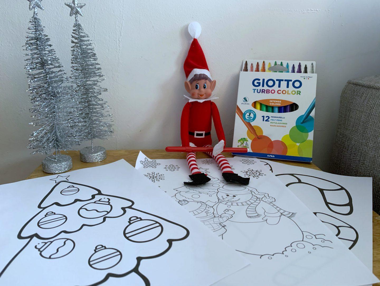 Colouring ideas elf on a shelf
