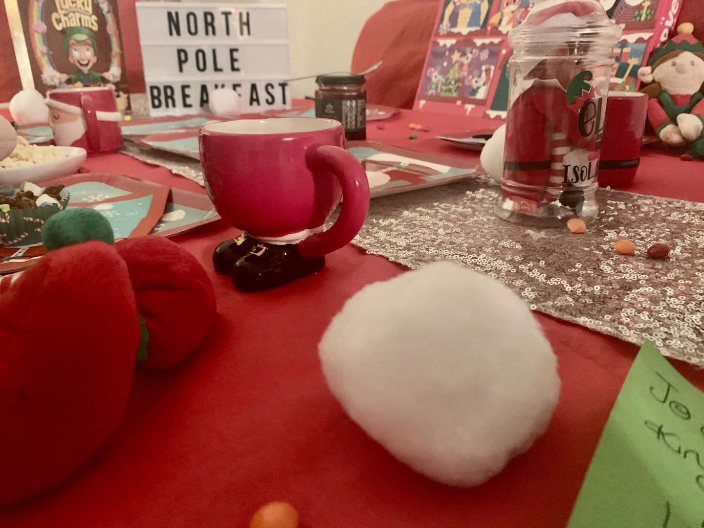 Fake snow balls for our north pole breakfast ideas
