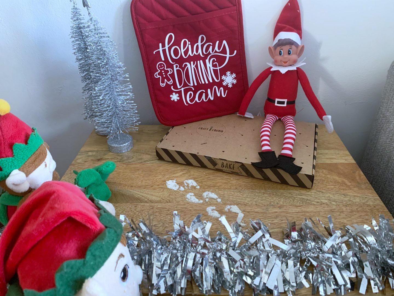 Elf on a shelf brought a baking it with elf footprint stencils