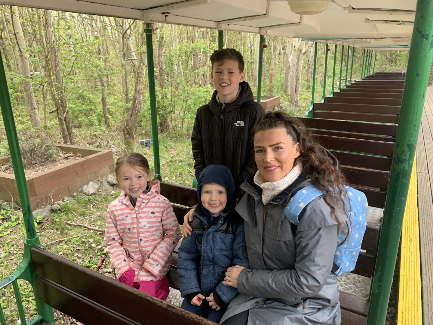 My family on the Conkeroo Train at Conkers