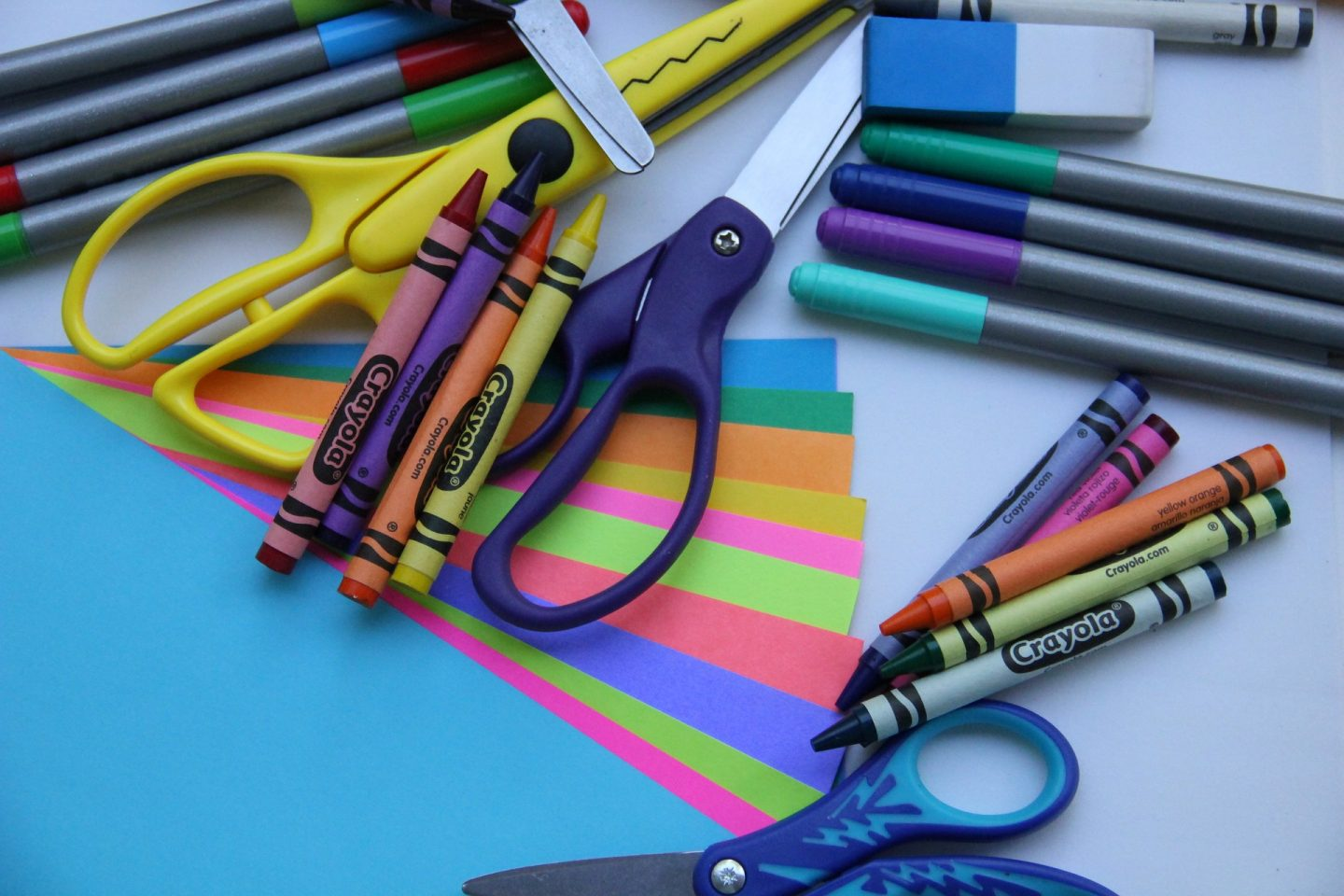 Childs scissors pens crayons and paper, how to help develop your child's fine motor skills